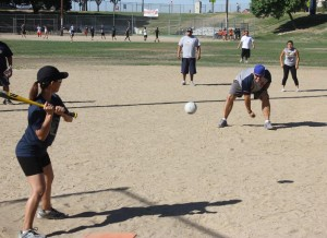 Kyle Cardoza / Sanger Herald Six teams played in the First Annual Mush Ball Tournament in Sanger. The ball is slightly larger than a softball and is softer. Teammates pitch to each other. They get a maximum three pitches.