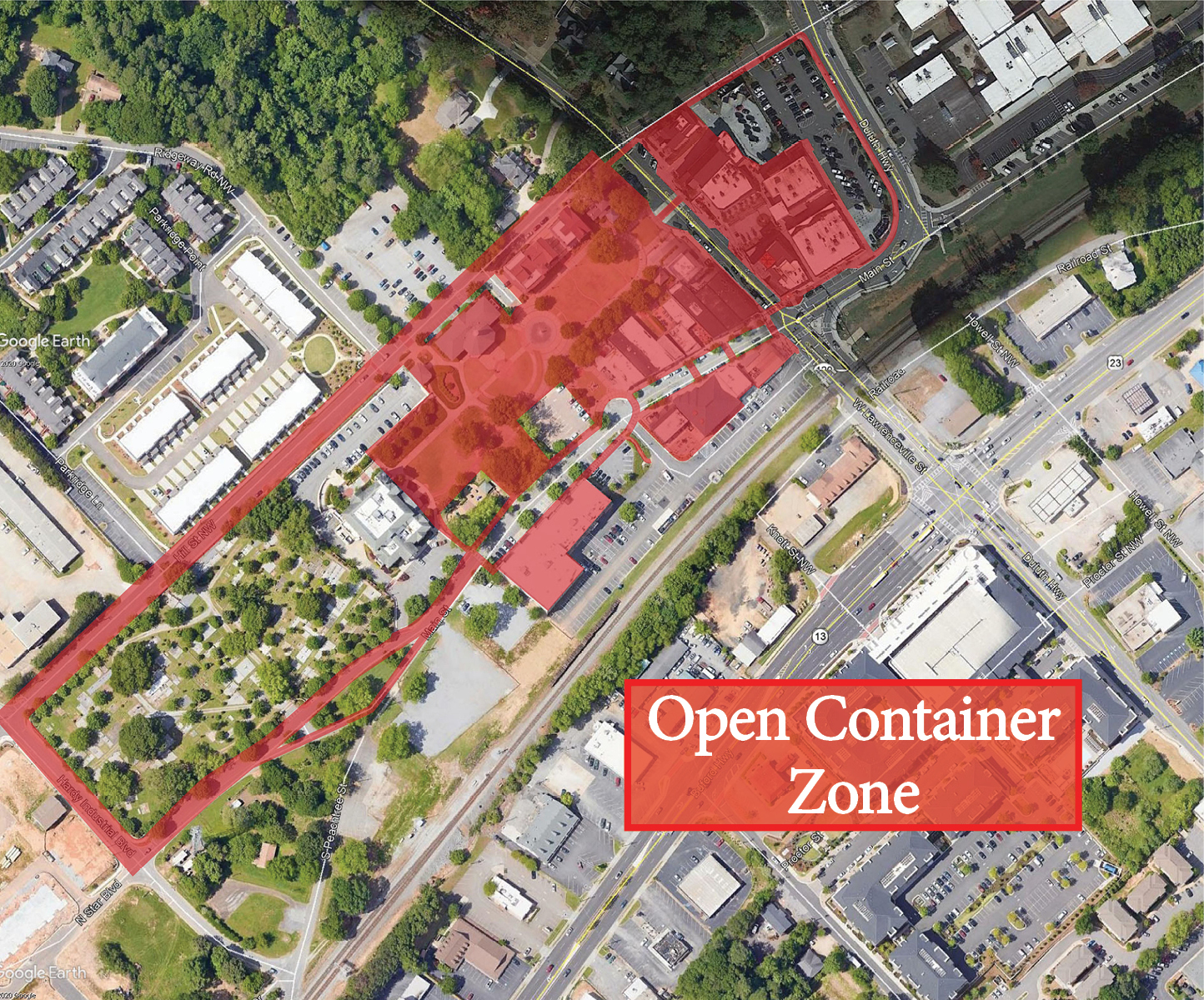 Map of Downtown Duluth open container zone.